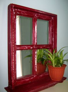 Shabby Chic Mirrored Window in Barn Red by PineTerraceTreasures, $64.99