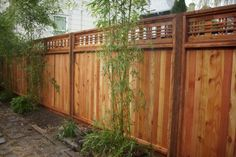 This is a nice horizontal lattice top fence we installed in Northeast Portland. The horizontal lattice gives a more contemporary look and the tongue and groove Lattice Fence Panels, Fence With Lattice Top, Yard Design, Fence Design, Fence Builders, Bamboo In Pots, Cedar Fence, Garden Oasis, Outdoor Living