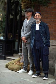 Werkkleding: Nigel Cabourn in dubbele denim. Workwear Fashion, Mens Fashion, Suit Fashion, Street Fashion, Men Street, Street Wear, Mode Masculine Vintage, Style Masculin, Look Street Style