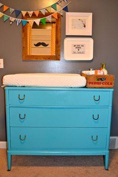 Beautiful teal, vintage dresser/changing table - #nursery #teal #vintage