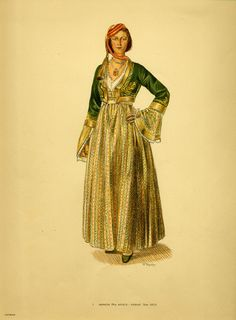 Costume from Athens - Collection Peloponnesian Folklore Foundation Ancient Greek Costumes, Greek Traditional Dress, Fashion Illustration Template, Greek Dress, Greek Clothing, In Ancient Times, Folk Costume, Louvre, Western Outfits