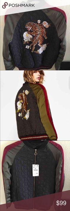 Zara tiger bomber jacket Size small, new with tags!! Zara Jackets & Coats
