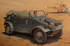 Me-109 F y VW typ 82 Kübelwagen. África