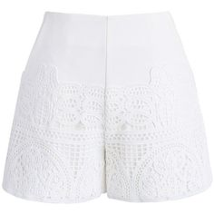 Chicwish Crochet Feast Shorts in White (130 PEN) ❤ liked on Polyvore featuring shorts, bottoms, pants, white, frilly shorts, white dress shorts, white ruffle shorts, cutoff shorts and white shorts