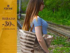 Maxi shopping dorado con print rayado de FOR TIME