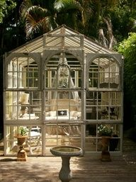 Salvaged window glass house w/ deck base