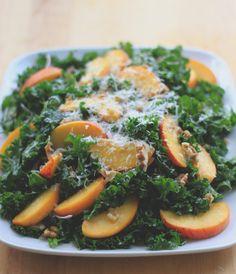 kale salad with peaches and pecorino