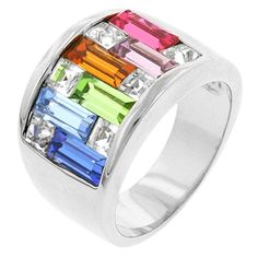 Alexander James Street Silvertone BlueGreenYellowOrangeRed Cubic Zirconia Rainbow Pastel Cocktail Ring Size 10 * Want to know more, click on the image. (This is an affiliate link and I receive a commission for the sales)
