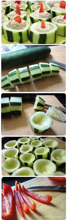 cucumber, hummus, & red pepper appetizer