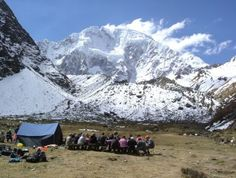Stopping for lunch on the Salkantay Trek - an alternative to the Inca Trail