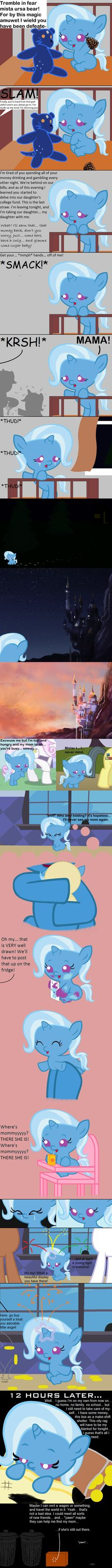 From this I get an understanding of why Trixie was the way she was. Really makes yah think, don't it?