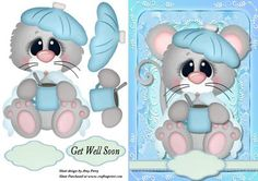 """Poorly Little Mouse on Craftsuprint designed by Amy Perry - Poorly Little Mouse in lovely blue fancy frame with ribbon tag also has decoupage and choice of tag """"Get Well Soon"""" and a blank tag for your own sentiment - Now available for download!"""
