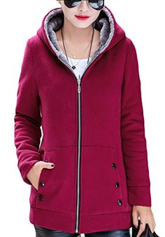 WSPLYSPJY Men Oversized Warm Hood Zipper Up Thickened Pocketed Velvet Puffer Jacket