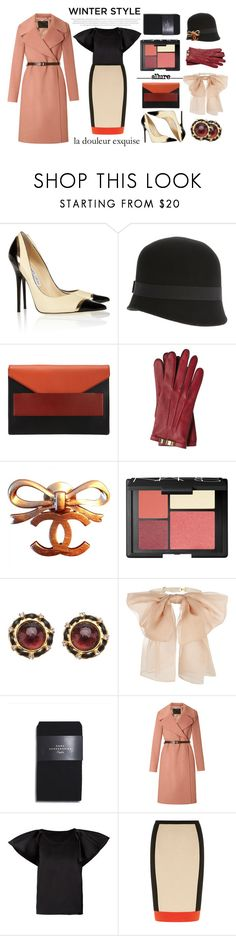 """colorblock madness."" by mercimasada ❤ liked on Polyvore featuring Jimmy Choo, Le Chapeau by Alakazia, Narciso Rodriguez, Burberry, Chanel, NARS Cosmetics, Lauren Conrad, Yves Saint Laurent, Zara and Marc Jacobs"