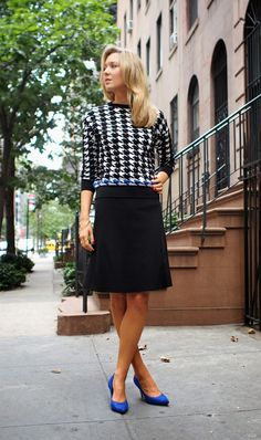 fall fashion houndstooth zara sweater cobalt blue suede pumps accent elie tahari skirt a-line the classy cubicle fashion blog for young professional women females woman girls 20s 30s 40s appropriate work wear office attire outfits professional corporate suit dos and donts crimes top ten day to night transition interview preppy office style dress for success step up lean in