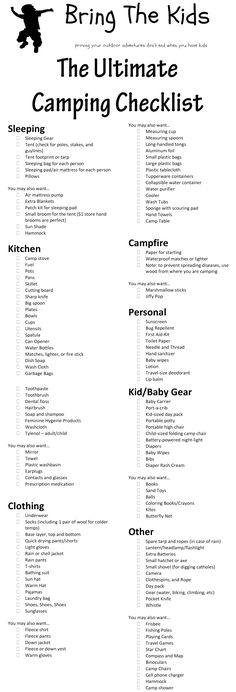 The Ultimate Family Camping Checklist! Bring the kids, they are never too young! #Camping #Cooking #Outdoors