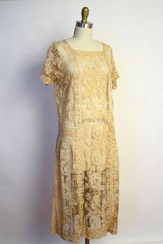 Vintage 20s Lace Flapper Dress - Deco Ecru Handmade Lace Tunic Dress