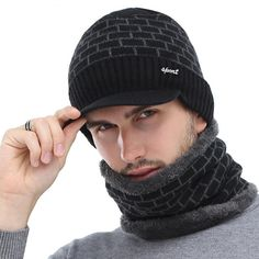 063e6bf56c15f Winter hats · Men s Brick Visor Beanie with Neck Scarf