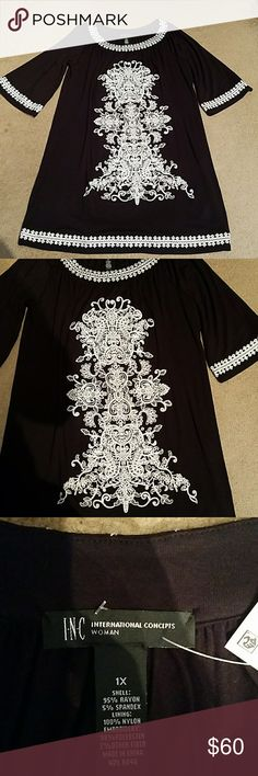 NWT: INC embroidered black & white dress NWT: INC embroidered black and white dress. INC International Concepts Dresses