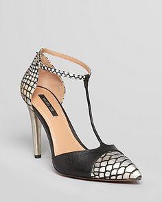 Rachel Zoe Pointed Toe Cap Toe Pumps - Franco T Strap High Heel