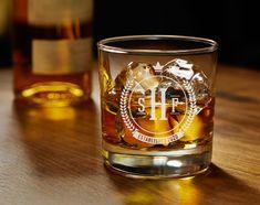 One Personalized Whiskey Glass - Tumblers - Glasses - Groomsmen- Wedding Gift- Anniversary - Birthday- Custom Glassware - Best Man- Husband Wedding Gifts For Groomsmen, Groomsman Gifts, Grandfather Gifts, Whiskey Glasses, Wedding Anniversary Gifts, Gifts For Dad, Tumblers, Shot Glass, Husband