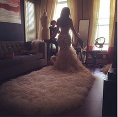 Kandi Burruss shows the back of her gorgeous wedding dress.