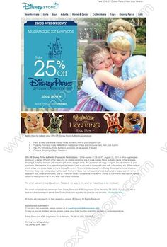 Company: Disney Inc  Subject: 3 Days Only! Take 25% Off Disney Parks Merchandise         INBOXVISION, a global email gallery/database of 1.5 million B2C and B2B promotional email/newsletter templates, provides email design ideas and email marketing intelligence. www.inboxvision.c... #EmailMarketing  #DigitalMarketing  #EmailDesign  #EmailTemplate  #InboxVision  #SocialMedia  #EmailNewsletters