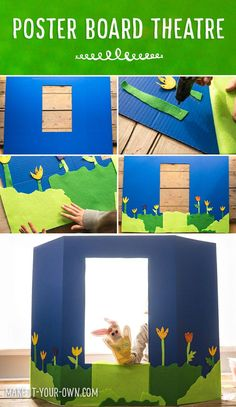 How to Make a Poster Board Puppet Theater for Kids Pretend Play {pacific kid} School Age Activities, Craft Activities For Kids, Drama Activities, Drama Games, Tri Fold Poster, Diy For Kids, Crafts For Kids, Toddler Crafts, Puppets For Kids