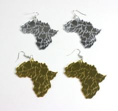 Large Gold African Map Earrings wDuafe Comb rhngen Snckor