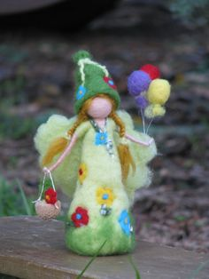 Needle felted birthday fairy waldorf inspired by Made4uByMagic, $48.00