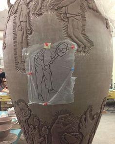 Carving away! #lukaseaston #lukaseastonbfa #ceramics #youmakemeleatherhard #leatherhard #clay #pottery #wheelthrowing #carving #carvedclay #imagetransfer