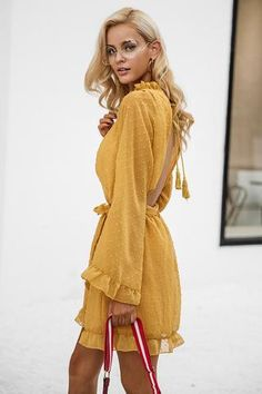 Simplee Lace up backless mesh dress women Elegant stringy selvedge sash mini dress Fashion long flare sleeve dresses vestidos - TakoFashion - Women's Clothing & Fashion online shop Cute Summer Dresses, Day Dresses, Short Dresses, Sleeve Dresses, Dress Long, Chiffon Ruffle, Chiffon Dress, Ruffles, Yellow Lace