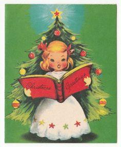 Vintage Greeting CardChristmas Tree Cute Angel Singing Carols