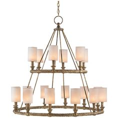Currey and Company Westbourne Textured Gold Chandelier 9844