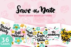 Wedding Greeting Posters #wedding #love #vector #illustration #lettering #typography #greeting #postcard #savethedate #valentine
