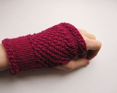 Fingerless Gloves for women. Hand knitted hand warmers red violet.