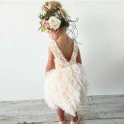 Lovely Jewel Sleeveless Knee-length Tiered Pink Flower Girl Dress