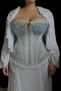 Herringbone Coutil, blue grey 55 inch wide Corsets, Modelos Pin Up, Art Visage, Corset Costumes, Plus Size Corset, Corset Pattern, Haircuts With Bangs, Historical Clothing, Beautiful Outfits
