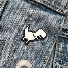 Cute Hipster Outfits : Pixel Dino Pin by MultiDesignStore on Etsy Jacket Pins, Mein Style, Things To Buy, Stuff To Buy, Cool Pins, Pin And Patches, Stickers, Looks Cool, Pin Badges