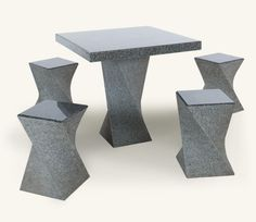 Marshalls Square Contemporary Polished 4 seater Granite Outdoor Dining Table and Bench set