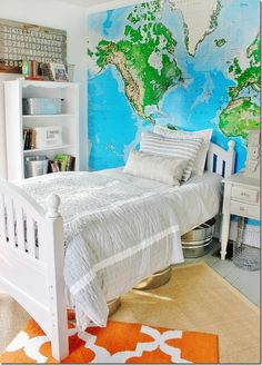 Easy and inexpensive ideas for decorating a teenage boy's room.  Use a trash can for a hamper and galvanized bins for storage and so many more.  thistlewoodfarms.com
