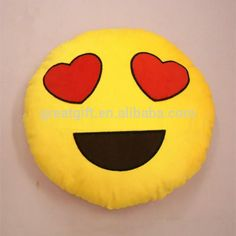 Peluche Emoji icono almohadas beso del corazón del amor cara de la sonrisa amarilla de almohada cojín redondo