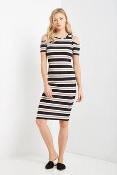 ff50923d6e75 Ella Cold Shoulder Midi Dress – Poshsquare Rib Knit