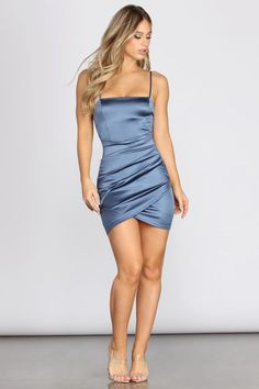 details Get all wrapped up in stylish satin with this sleek mini. Fits & Features Spaghetti StrapsSquare Neckline & Back Ruched Wrap Front Detail Mini Length Silhouette Satin-Like Fabric With Pretty Sheen Moderate Stretch Black And Lavender: Model is Hoco Dresses, Dance Dresses, Satin Dresses, Homecoming Dresses, Sexy Dresses, Cute Dresses, Evening Dresses, Bridesmaid Dresses, Vegas Dresses