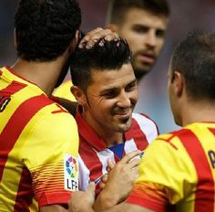 FC Barcelona vs At Madrid   David Villa after he scored his first goal against his former club.