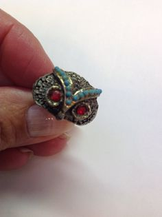 Vintage Silvertone Costume Owl Ring with by NannysHiddenTreasure, $17.00