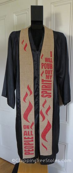 I love the idea of this stole!  It is apparently made from a recycled coffee sack that has been hand painted to represent Pentecost.