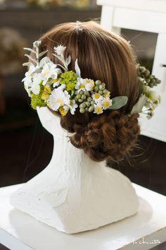 ホワイト×イエローグリーン コスモス カモミール ヘッドドレス head dress