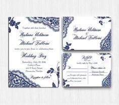 Lace Wedding Invitation Printed Navy Lace wedding by MinimalMoon