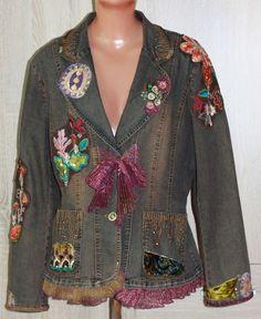 Handmade Embroidered Vintage Style Denim Gold Boho Jacket, Hippie, Size M/L #Handmade #Boho